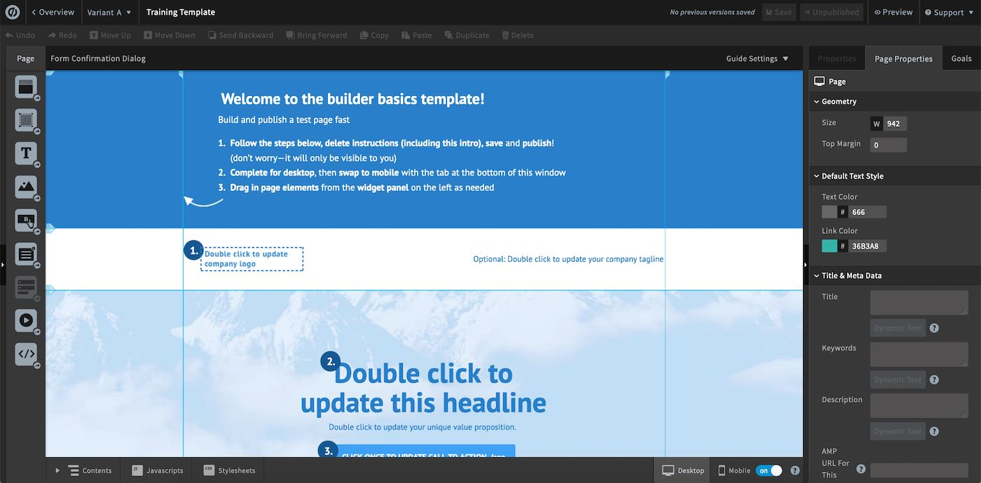 Unbounce   template editor   Surges review